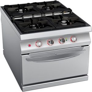 כיריים גז 4 להבות על בסיס תנור חשמלי, קו בישול 1100