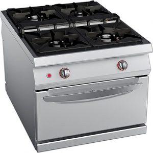 כיריים גז 4 להבות על בסיס תנור גז סטטי, קו בישול 1100