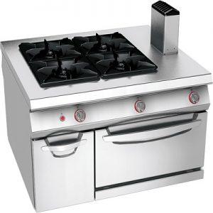 כיריים גז 4 להבות על בסיס תנור גז כולל ארון, קו בישול 1100
